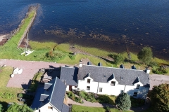 Aerial Drone Shot of Pier House and Loch Leven
